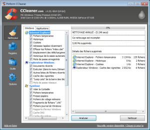 ccleaner - onglet nettoyeur